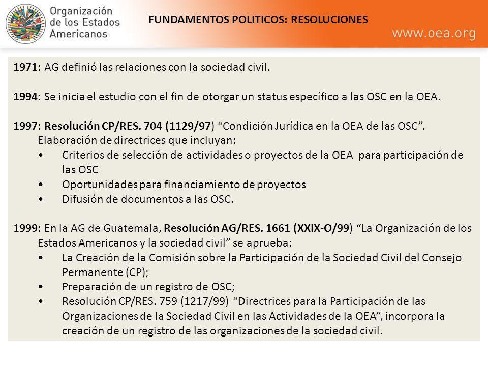 1971: AG definió las relaciones con la sociedad civil. 1994: Se inicia el estudio con el fin de otorgar un status específico a las OSC en la OEA. 1997