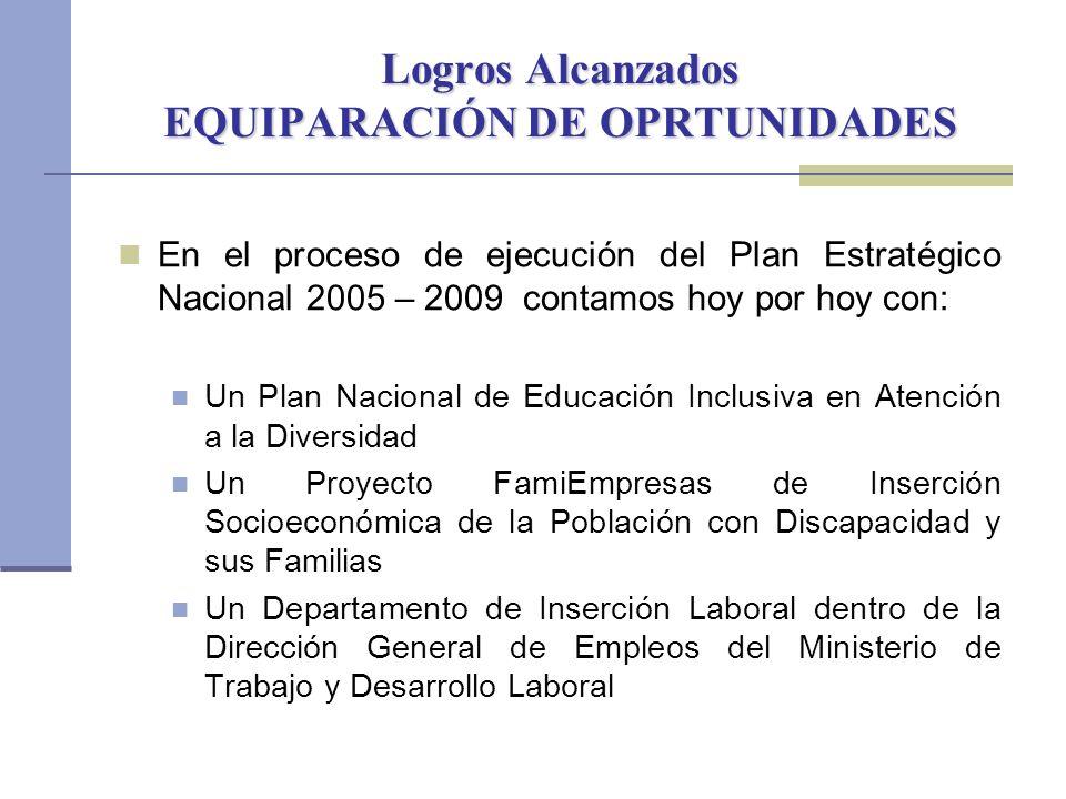 Logros Alcanzados EQUIPARACIÓN DE OPRTUNIDADES En el proceso de ejecución del Plan Estratégico Nacional 2005 – 2009 contamos hoy por hoy con: Un Plan