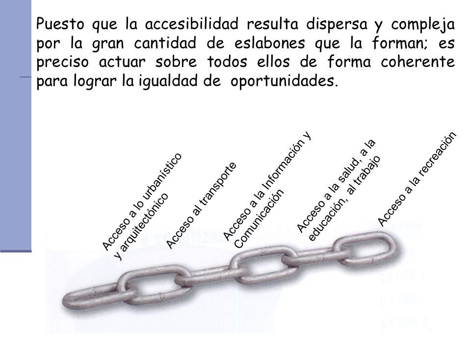 Puesto que la accesibilidad resulta dispersa y compleja por la gran cantidad de eslabones que la forman; es preciso actuar sobre todos ellos de forma