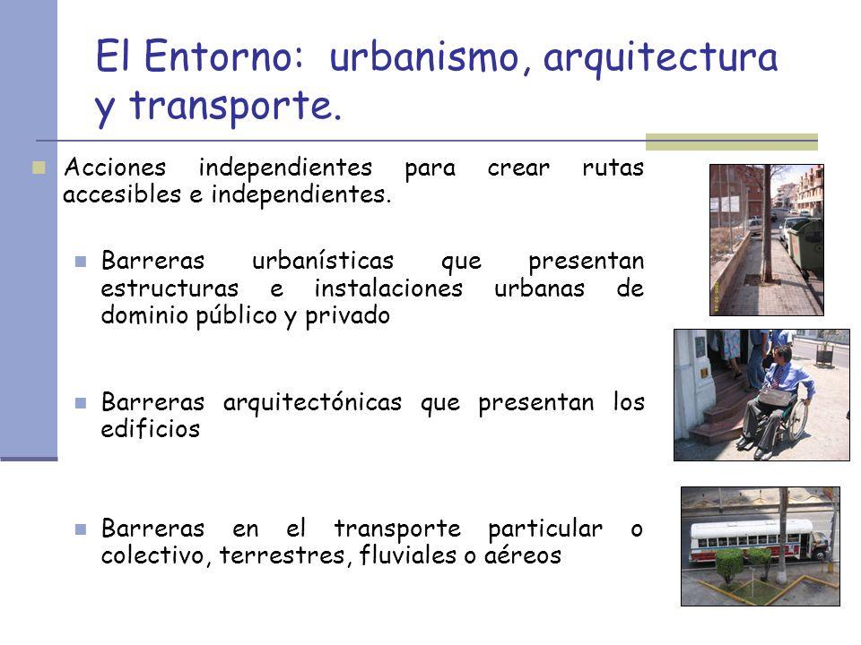El Entorno: urbanismo, arquitectura y transporte. Acciones independientes para crear rutas accesibles e independientes. Barreras urbanísticas que pres