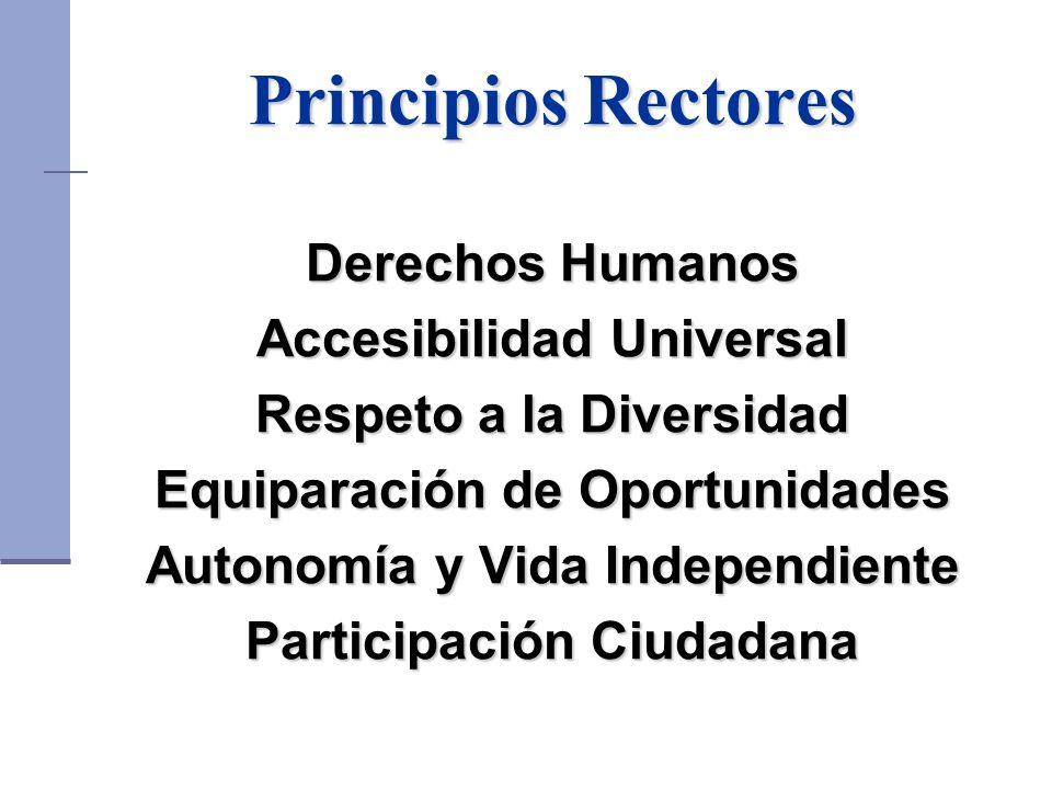 Principios Rectores Derechos Humanos Accesibilidad Universal Respeto a la Diversidad Equiparación de Oportunidades Autonomía y Vida Independiente Participación Ciudadana
