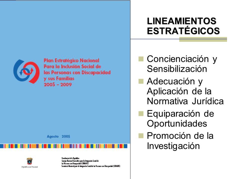 LINEAMIENTOS ESTRATÉGICOS Concienciación y Sensibilización Adecuación y Aplicación de la Normativa Jurídica Equiparación de Oportunidades Promoción de la Investigación