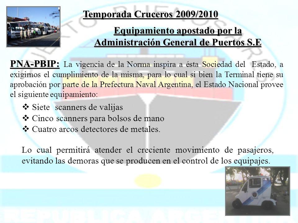 Temporada Cruceros 2009/2010 Siete scanners de valijas Cinco scanners para bolsos de mano Cuatro arcos detectores de metales. Lo cual permitirá atende