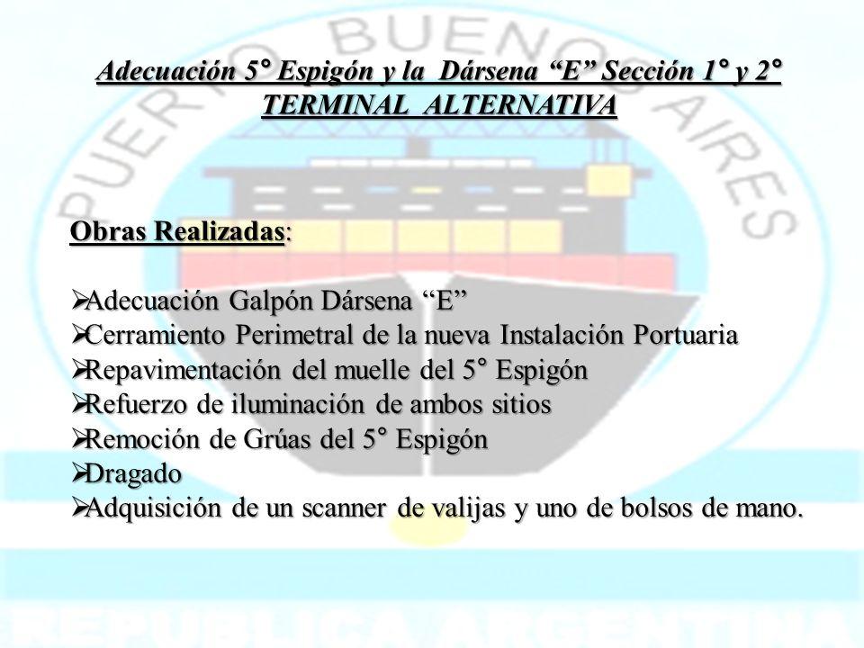 Obras Realizadas: Adecuación Galpón Dársena E Adecuación Galpón Dársena E Cerramiento Perimetral de la nueva Instalación Portuaria Cerramiento Perimet