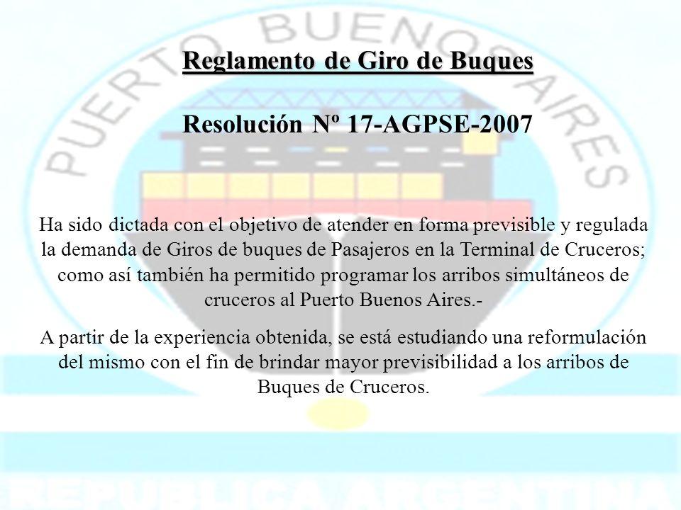 Reglamento de Giro de Buques Resolución Nº 17-AGPSE-2007 Ha sido dictada con el objetivo de atender en forma previsible y regulada la demanda de Giros