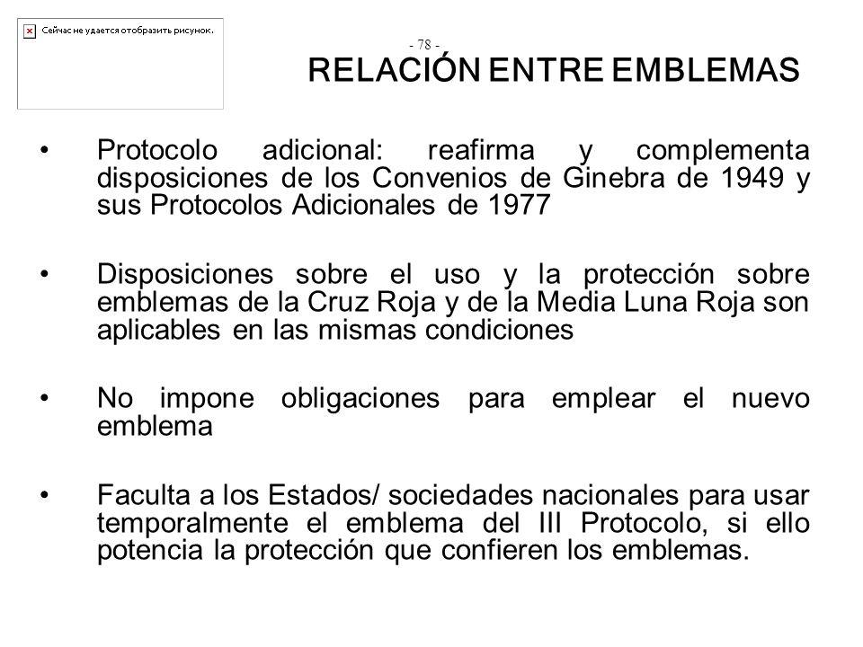 Protocolo adicional: reafirma y complementa disposiciones de los Convenios de Ginebra de 1949 y sus Protocolos Adicionales de 1977 Disposiciones sobre