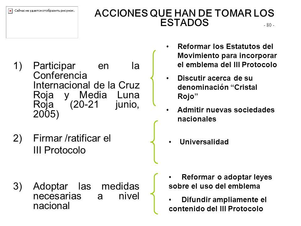 1)Participar en la Conferencia Internacional de la Cruz Roja y Media Luna Roja (20-21 junio, 2005) 2)Firmar /ratificar el III Protocolo 3)Adoptar las