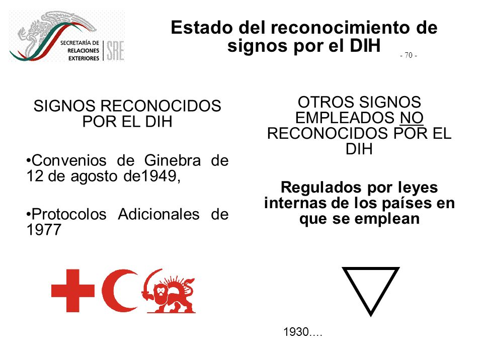 SIGNOS RECONOCIDOS POR EL DIH Convenios de Ginebra de 12 de agosto de1949, Protocolos Adicionales de 1977 OTROS SIGNOS EMPLEADOS NO RECONOCIDOS POR EL