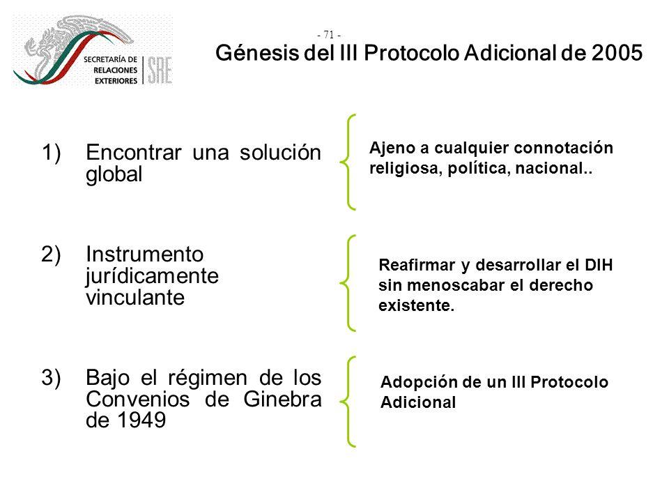 1)Encontrar una solución global 2)Instrumento jurídicamente vinculante 3)Bajo el régimen de los Convenios de Ginebra de 1949 Génesis del III Protocolo
