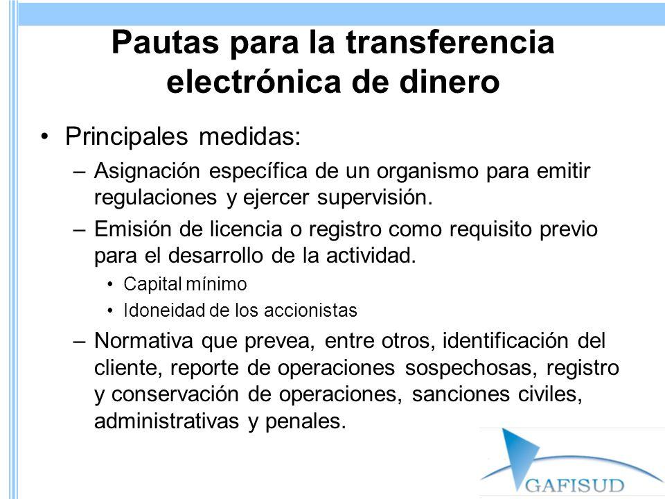 Pautas para la transferencia electrónica de dinero Principales medidas: –Asignación específica de un organismo para emitir regulaciones y ejercer supe
