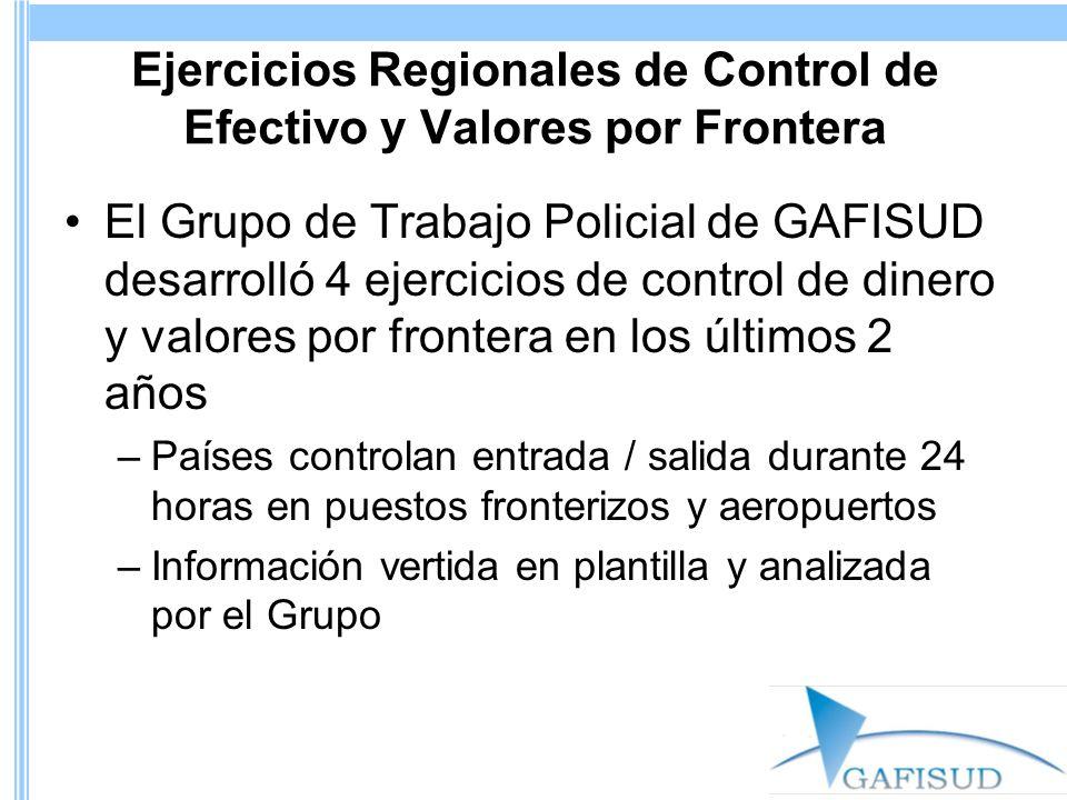 Ejercicios Regionales de Control de Efectivo y Valores por Frontera El Grupo de Trabajo Policial de GAFISUD desarrolló 4 ejercicios de control de dine