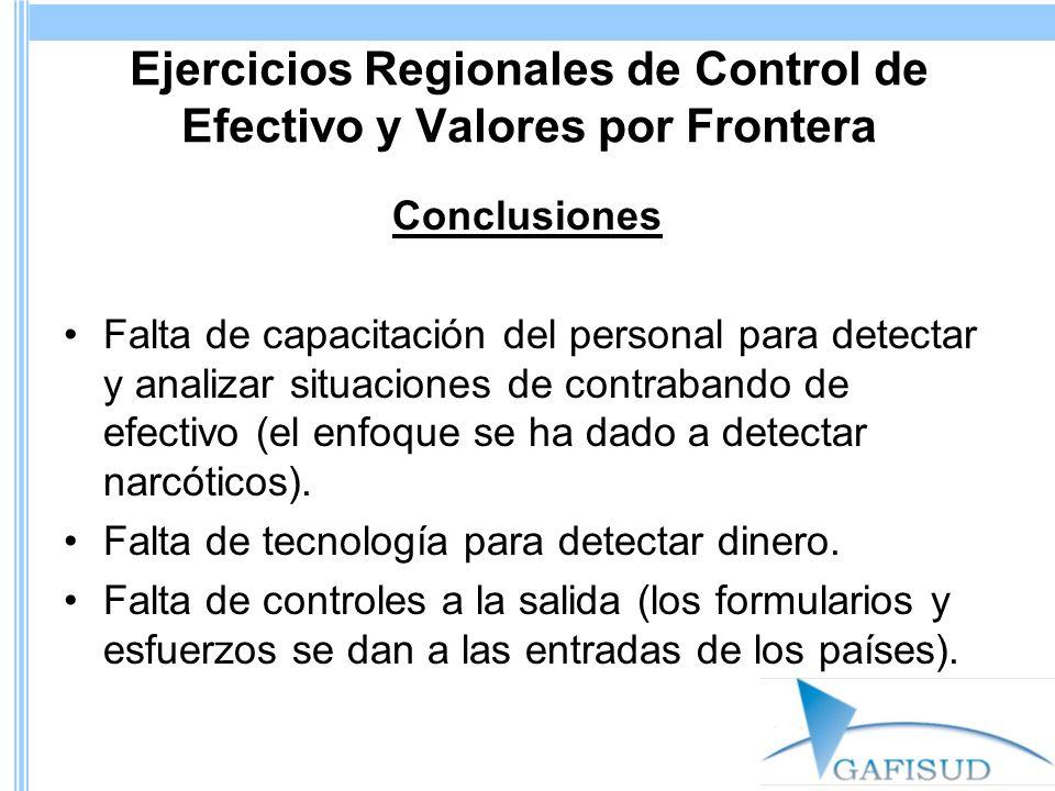 Ejercicios Regionales de Control de Efectivo y Valores por Frontera Conclusiones Falta de capacitación del personal para detectar y analizar situaciones de contrabando de efectivo (el enfoque se ha dado a detectar narcóticos).
