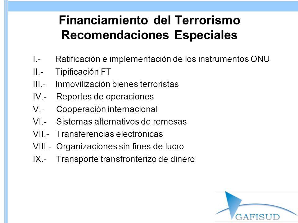 Financiamiento del Terrorismo Recomendaciones Especiales I.- Ratificación e implementación de los instrumentos ONU II.- Tipificación FT III.- Inmovili