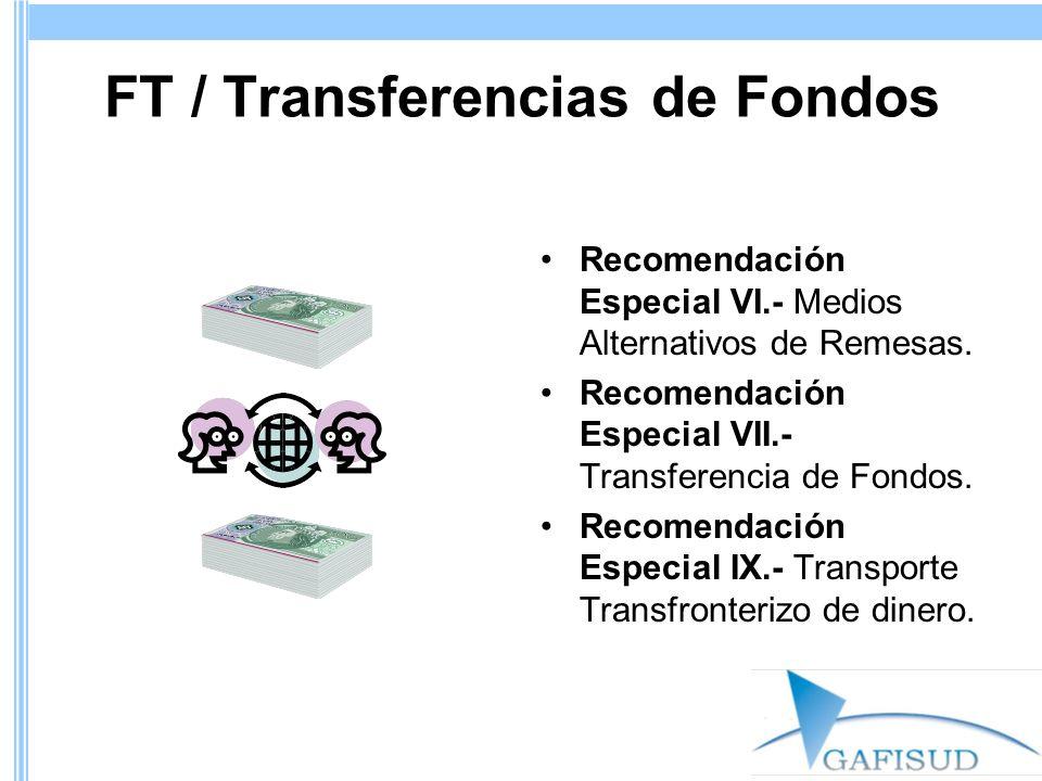 FT / Transferencias de Fondos Recomendación Especial VI.- Medios Alternativos de Remesas. Recomendación Especial VII.- Transferencia de Fondos. Recome