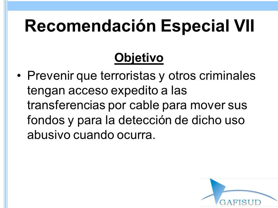 Recomendación Especial VII Objetivo Prevenir que terroristas y otros criminales tengan acceso expedito a las transferencias por cable para mover sus fondos y para la detección de dicho uso abusivo cuando ocurra.
