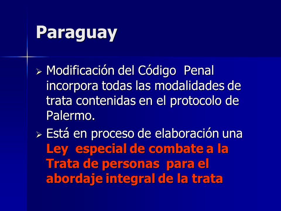 Paraguay Modificación del Código Penal incorpora todas las modalidades de trata contenidas en el protocolo de Palermo. Modificación del Código Penal i
