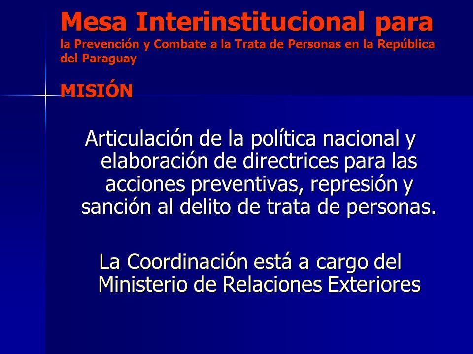 Mesa Interinstitucional para la Prevención y Combate a la Trata de Personas en la República del Paraguay MISIÓN Articulación de la política nacional y