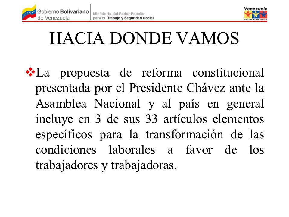 HACIA DONDE VAMOS La propuesta de reforma constitucional presentada por el Presidente Chávez ante la Asamblea Nacional y al país en general incluye en