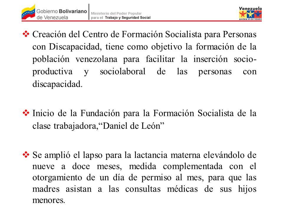 Creación del Centro de Formación Socialista para Personas con Discapacidad, tiene como objetivo la formación de la población venezolana para facilitar