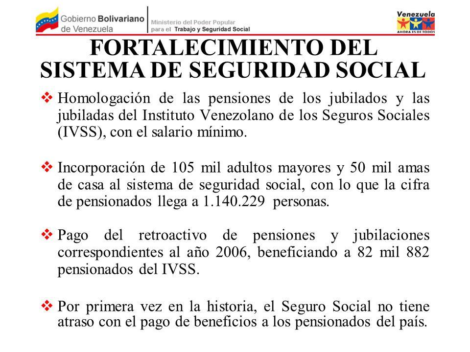 Homologación de las pensiones de los jubilados y las jubiladas del Instituto Venezolano de los Seguros Sociales (IVSS), con el salario mínimo. Incorpo
