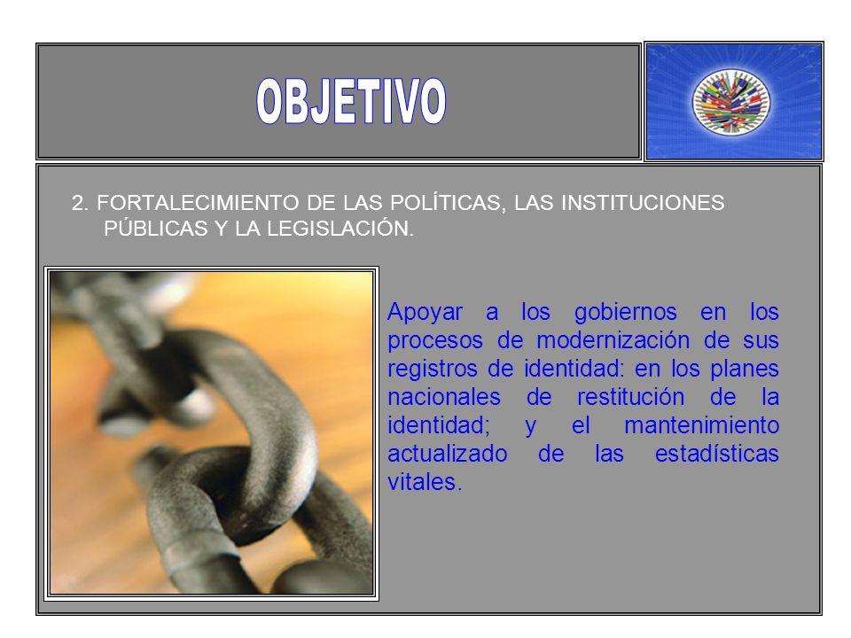 2. FORTALECIMIENTO DE LAS POLÍTICAS, LAS INSTITUCIONES PÚBLICAS Y LA LEGISLACIÓN.