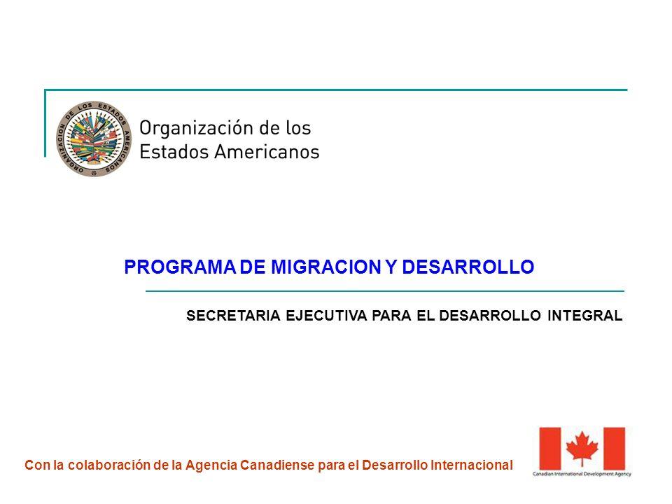 PROGRAMA DE MIGRACION Y DESARROLLO Con la colaboración de la Agencia Canadiense para el Desarrollo Internacional SECRETARIA EJECUTIVA PARA EL DESARROLLO INTEGRAL