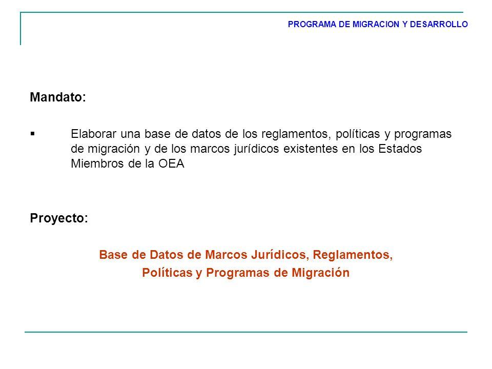 Mandato: Elaborar una base de datos de los reglamentos, políticas y programas de migración y de los marcos jurídicos existentes en los Estados Miembros de la OEA Proyecto: Base de Datos de Marcos Jurídicos, Reglamentos, Políticas y Programas de Migración PROGRAMA DE MIGRACION Y DESARROLLO