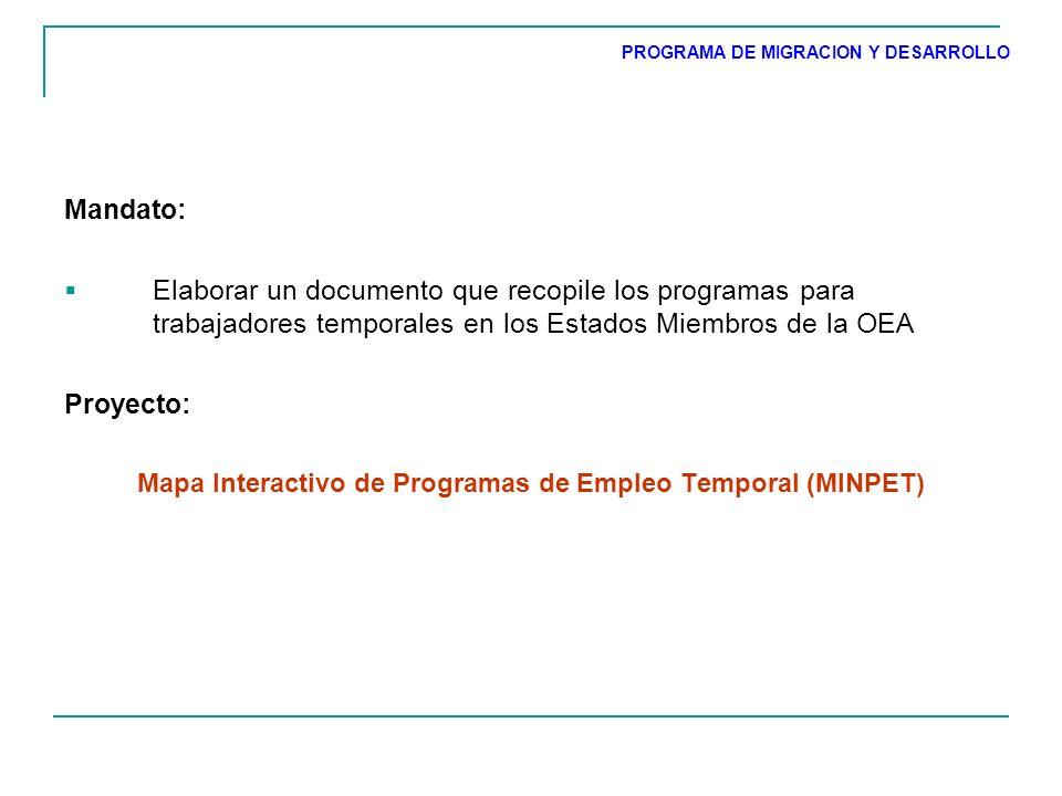 Elaborar un documento que recopile los programas para trabajadores temporales en los Estados Miembros de la OEA Proyecto: Mapa Interactivo de Programas de Empleo Temporal (MINPET) PROGRAMA DE MIGRACION Y DESARROLLO