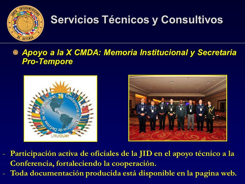 Apoyo a la X CMDA: Memoria Institucional y Secretaria Pro-Tempore Servicios Técnicos y Consultivos -Participación activa de oficiales de la JID en el apoyo técnico a la Conferencia, fortaleciendo la cooperación.