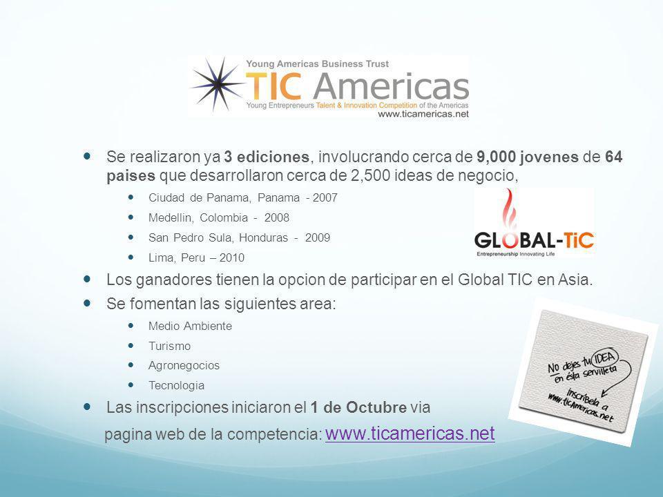 Se realizaron ya 3 ediciones, involucrando cerca de 9,000 jovenes de 64 paises que desarrollaron cerca de 2,500 ideas de negocio, Ciudad de Panama, Panama - 2007 Medellin, Colombia - 2008 San Pedro Sula, Honduras - 2009 Lima, Peru – 2010 Los ganadores tienen la opcion de participar en el Global TIC en Asia.