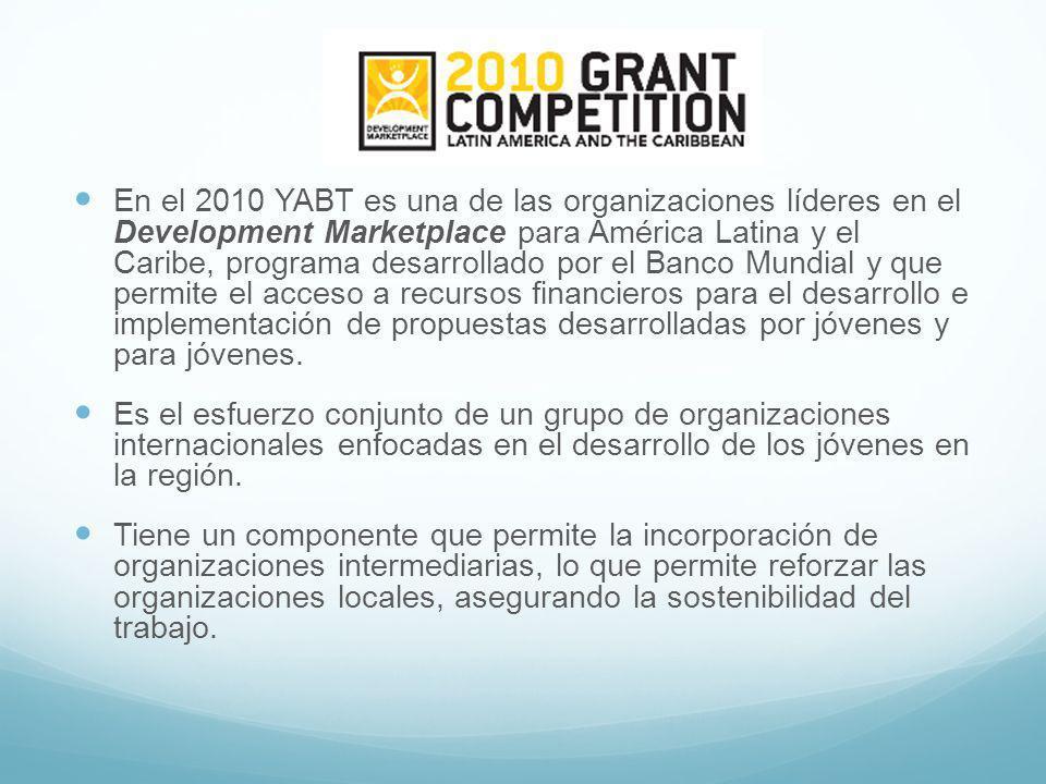 En el 2010 YABT es una de las organizaciones líderes en el Development Marketplace para América Latina y el Caribe, programa desarrollado por el Banco Mundial y que permite el acceso a recursos financieros para el desarrollo e implementación de propuestas desarrolladas por jóvenes y para jóvenes.