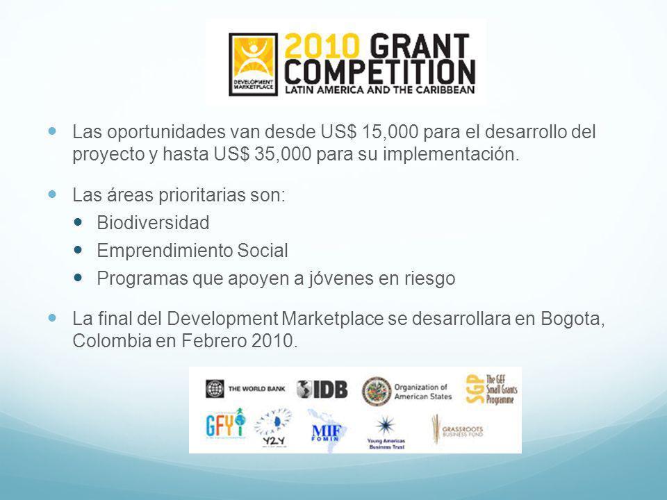 Las oportunidades van desde US$ 15,000 para el desarrollo del proyecto y hasta US$ 35,000 para su implementación.