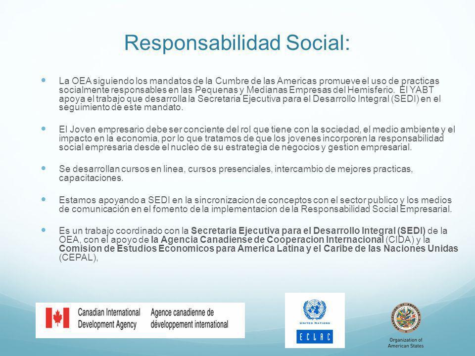 Responsabilidad Social: La OEA siguiendo los mandatos de la Cumbre de las Americas promueve el uso de practicas socialmente responsables en las Pequenas y Medianas Empresas del Hemisferio.