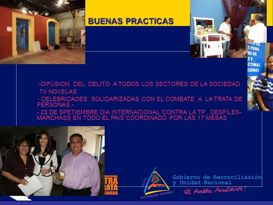 BUENAS PRACTICAS -DIFUSION DEL DELITO A TODOS LOS SECTORES DE LA SOCIEDAD TV NOVELAS - CELEBRIDADES SOLIDARIZADAS CON EL COMBATE A LA TRATA DE PERSONAS.- - 23 DE SPETIEMBRE DIA INTERNACIONAL CONTRA LA TP.