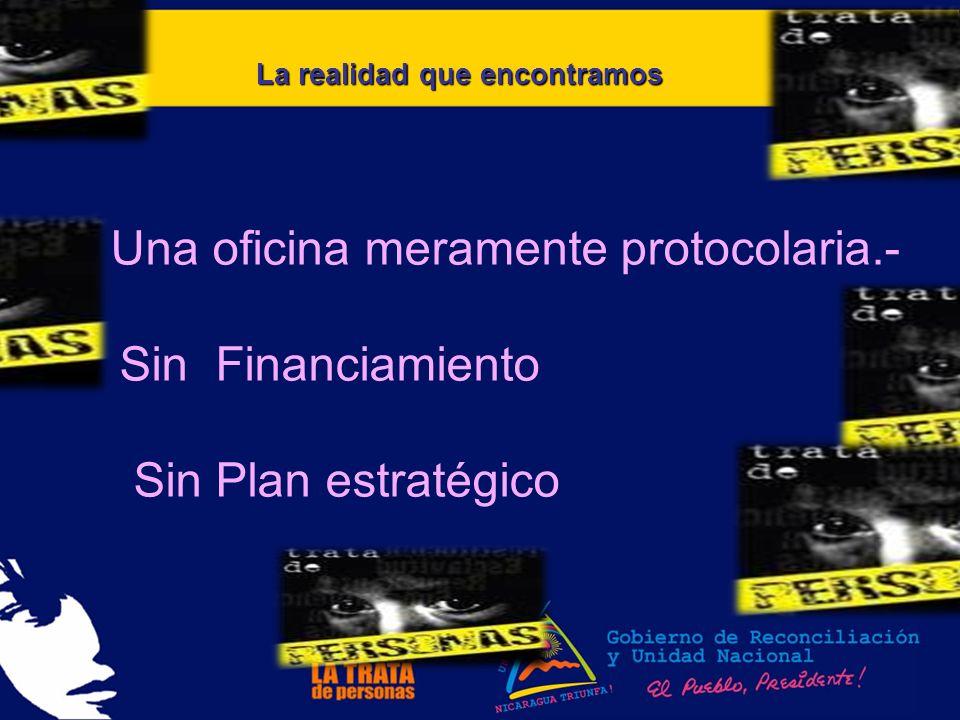 La realidad que encontramos Una oficina meramente protocolaria.- Sin Financiamiento Sin Plan estratégico
