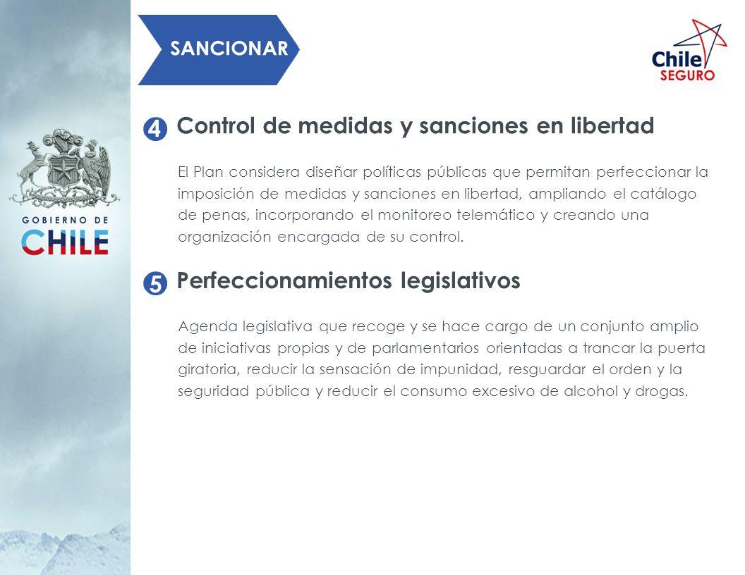 Control de medidas y sanciones en libertad El Plan considera diseñar políticas públicas que permitan perfeccionar la imposición de medidas y sanciones