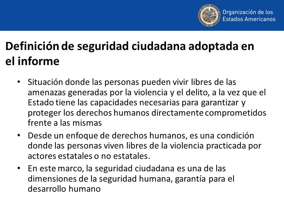 Definición de seguridad ciudadana adoptada en el informe Situación donde las personas pueden vivir libres de las amenazas generadas por la violencia y