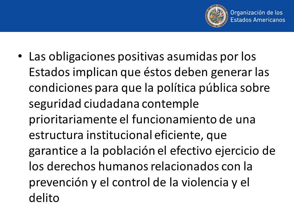 Las obligaciones positivas asumidas por los Estados implican que éstos deben generar las condiciones para que la política pública sobre seguridad ciud