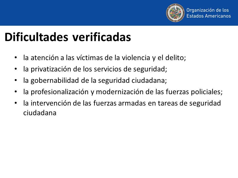 Dificultades verificadas la atención a las víctimas de la violencia y el delito; la privatización de los servicios de seguridad; la gobernabilidad de