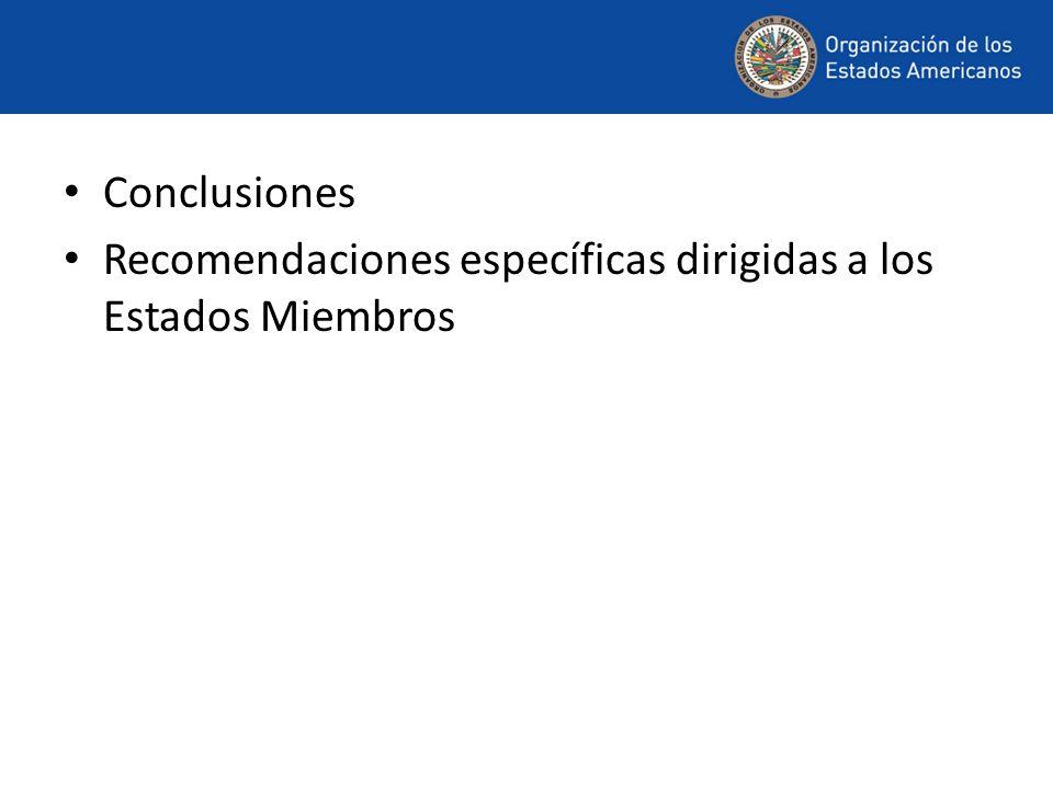 Conclusiones Recomendaciones específicas dirigidas a los Estados Miembros