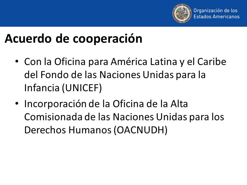Acuerdo de cooperación Con la Oficina para América Latina y el Caribe del Fondo de las Naciones Unidas para la Infancia (UNICEF) Incorporación de la O