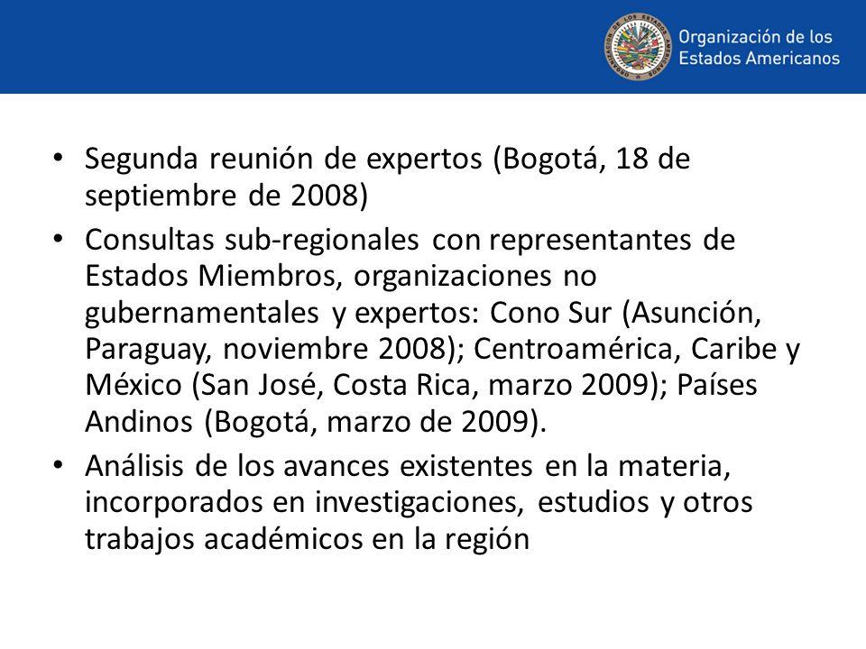 Segunda reunión de expertos (Bogotá, 18 de septiembre de 2008) Consultas sub-regionales con representantes de Estados Miembros, organizaciones no gube