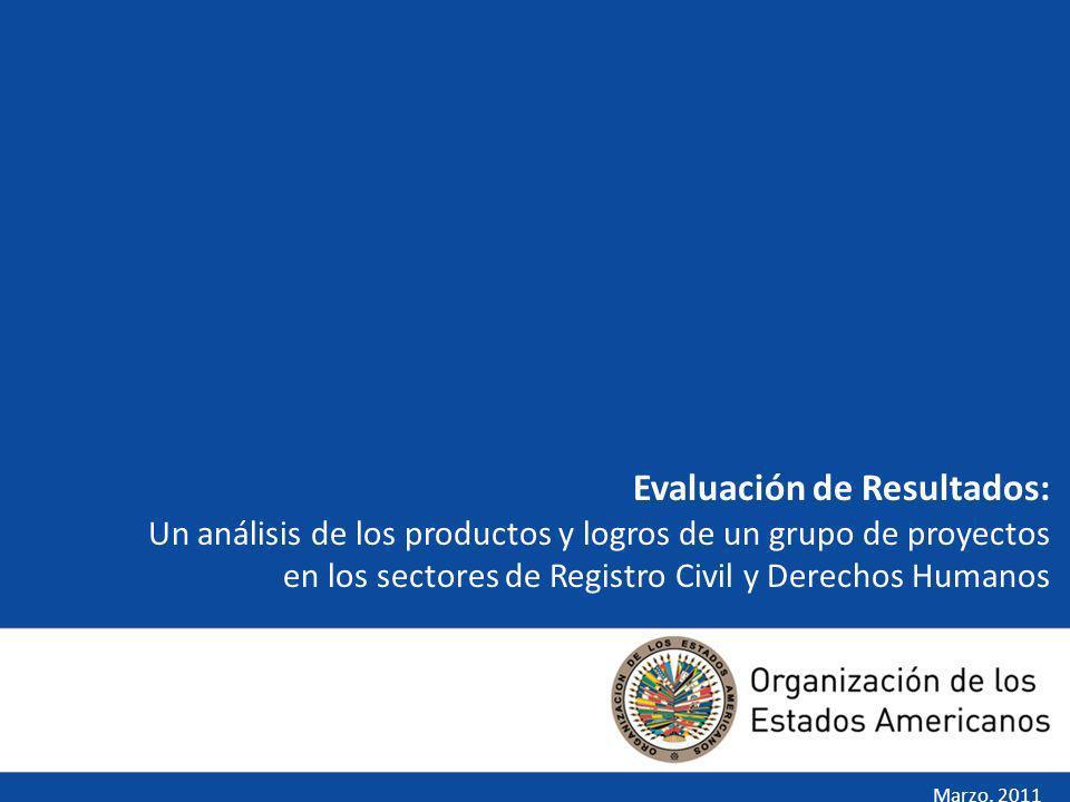 Evaluación de Resultados: Un análisis de los productos y logros de un grupo de proyectos en los sectores de Registro Civil y Derechos Humanos Marzo, 2