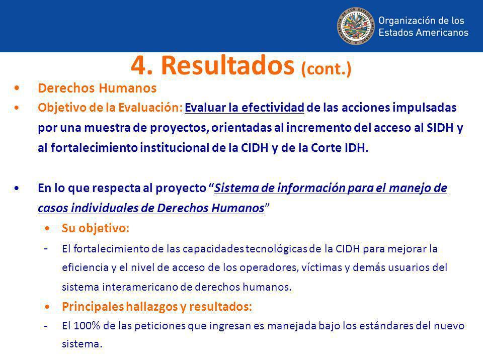 Derechos Humanos Objetivo de la Evaluación: Evaluar la efectividad de las acciones impulsadas por una muestra de proyectos, orientadas al incremento d