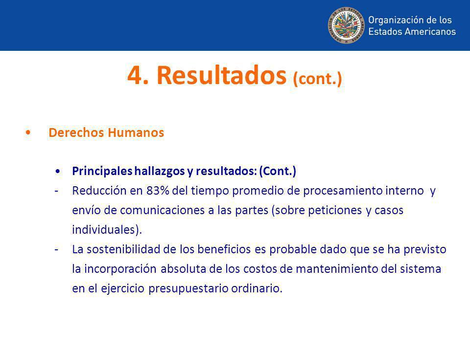 Derechos Humanos Principales hallazgos y resultados: (Cont.) -Reducción en 83% del tiempo promedio de procesamiento interno y envío de comunicaciones