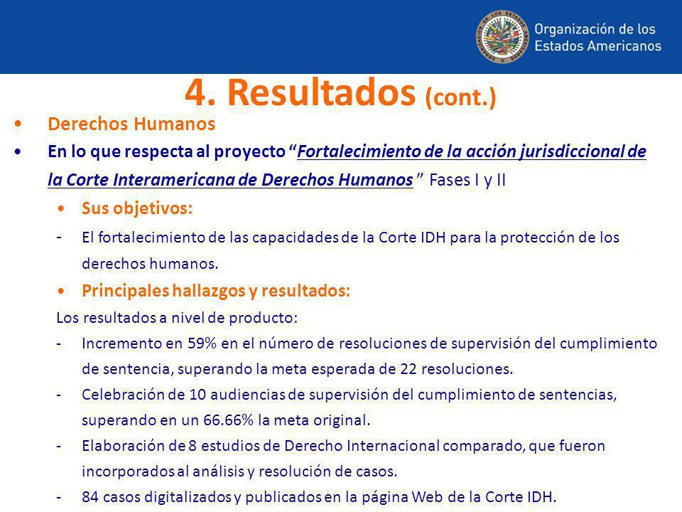 Derechos Humanos En lo que respecta al proyecto Fortalecimiento de la acción jurisdiccional de la Corte Interamericana de Derechos Humanos Fases I y I