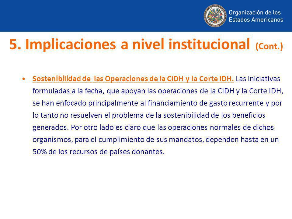 Sostenibilidad de las Operaciones de la CIDH y la Corte IDH. Las iniciativas formuladas a la fecha, que apoyan las operaciones de la CIDH y la Corte I