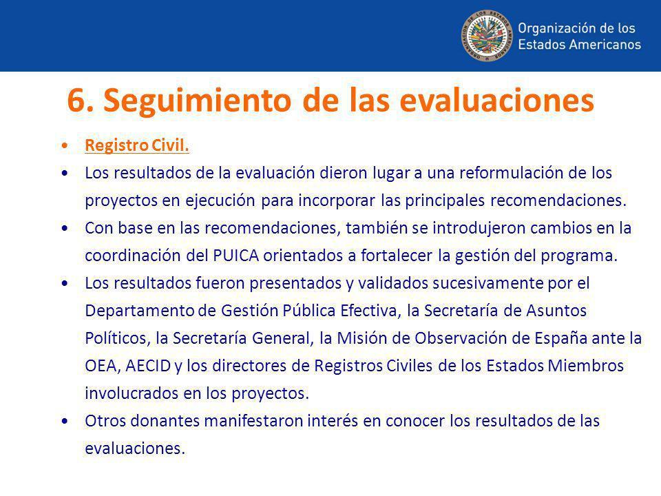 Registro Civil. Los resultados de la evaluación dieron lugar a una reformulación de los proyectos en ejecución para incorporar las principales recomen