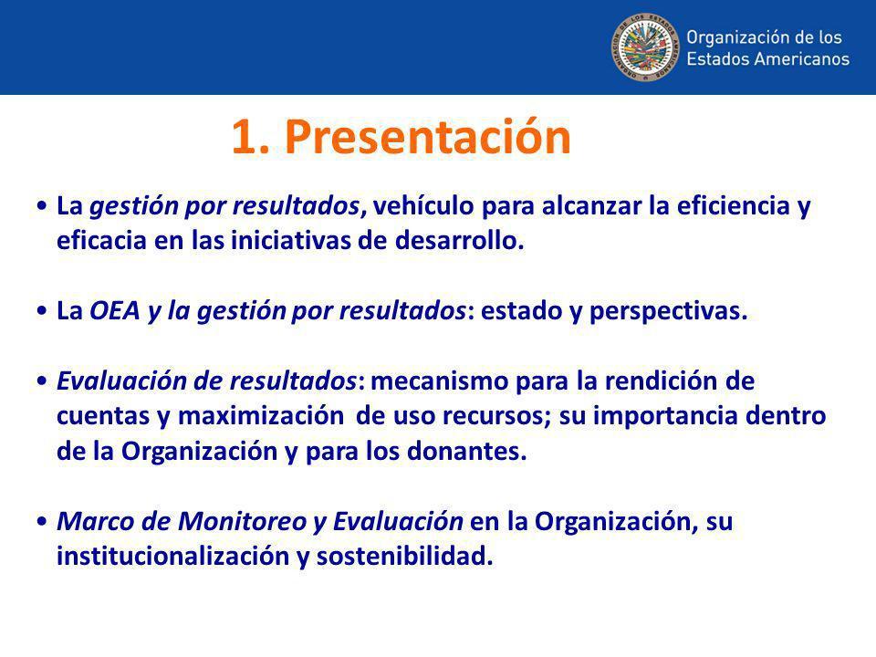 La gestión por resultados, vehículo para alcanzar la eficiencia y eficacia en las iniciativas de desarrollo. La OEA y la gestión por resultados: estad