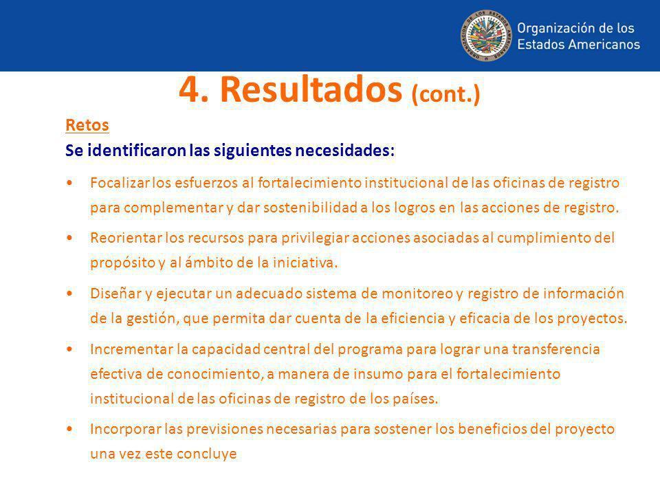 Retos Se identificaron las siguientes necesidades: Focalizar los esfuerzos al fortalecimiento institucional de las oficinas de registro para complemen